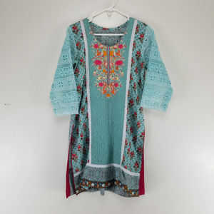 Tunic Dress Embroidered Flowers Crochet Sleeves